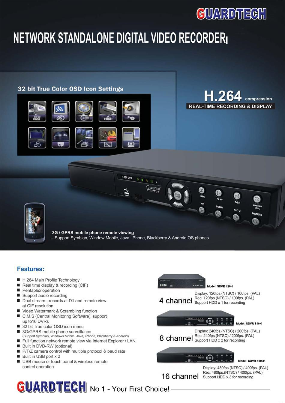 Standalone Digital Video Recording SDVR-1600H (16 Channel)
